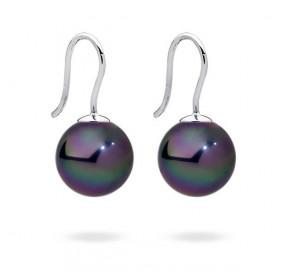 Kolczyki kolor fioletowy-benzynowy perła 12 mm