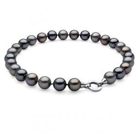 Naszyjnik grafitowy srebrny perła 14 mm