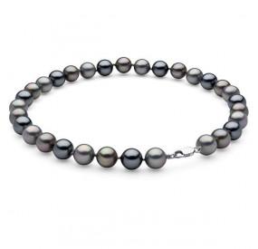 Naszyjnik grafitowy srebrny perła 12 mm