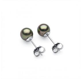Kolczyki kolor zielony-oliwkowy perła 6 mm