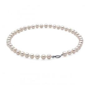 Naszyjnik biały perła 8 x 9 mm