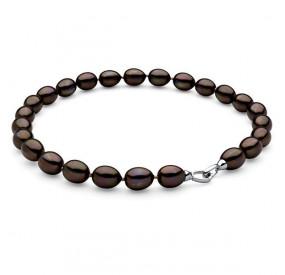 Naszyjnik brązowy-ciemny perła 12 x 15 mm