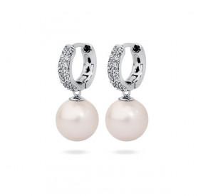 Kolczyki kolor różowy-jasny cyrkonie perła 10 mm