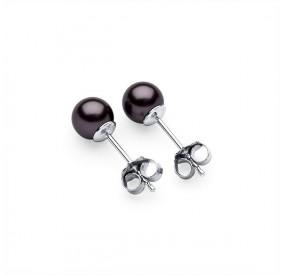 Kolczyki kolor fioletowy-śliwkowy perła 6 mm