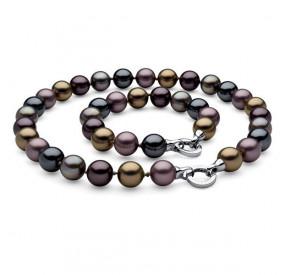 Komplet fioletowy grafitowy złoty perła 14 mm