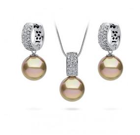 Komplet złoty cyrkonie perła 12 mm