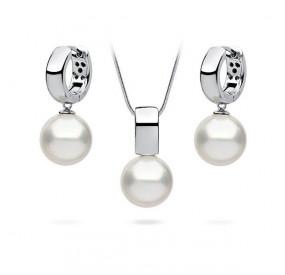 Komplet biały perła 12 mm