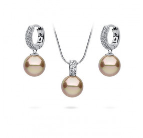 Komplet złoty cyrkonie perła 10 mm