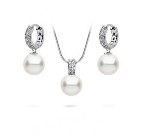 Komplet biały cyrkonie perła 10 mm