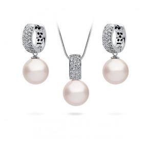 Komplet kremowy cyrkonie perła 10 mm