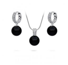 Komplet czarny cyrkonie perła 10 mm