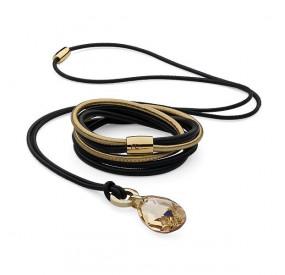 Komplet czarny złoty skóra kryształ Swarovski