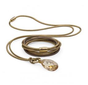Komplet złoty beżowy skóra kryształ Swarovski