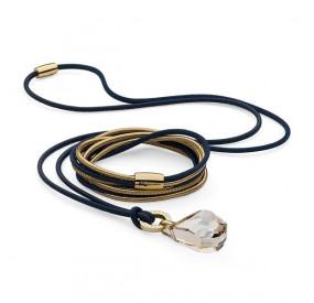 Komplet granatowy złoty skóra kryształ Swarovski