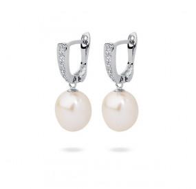 Kolczyki kolor biały cyrkonie perła 8 mm