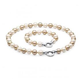 Komplet kremowy złoty perła 10 mm