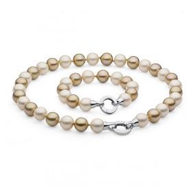 Komplet kremowy złoty perła 12 mm