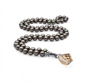Naszyjnik beżowy-cappucino perła 10 mm kryształ Swarovski