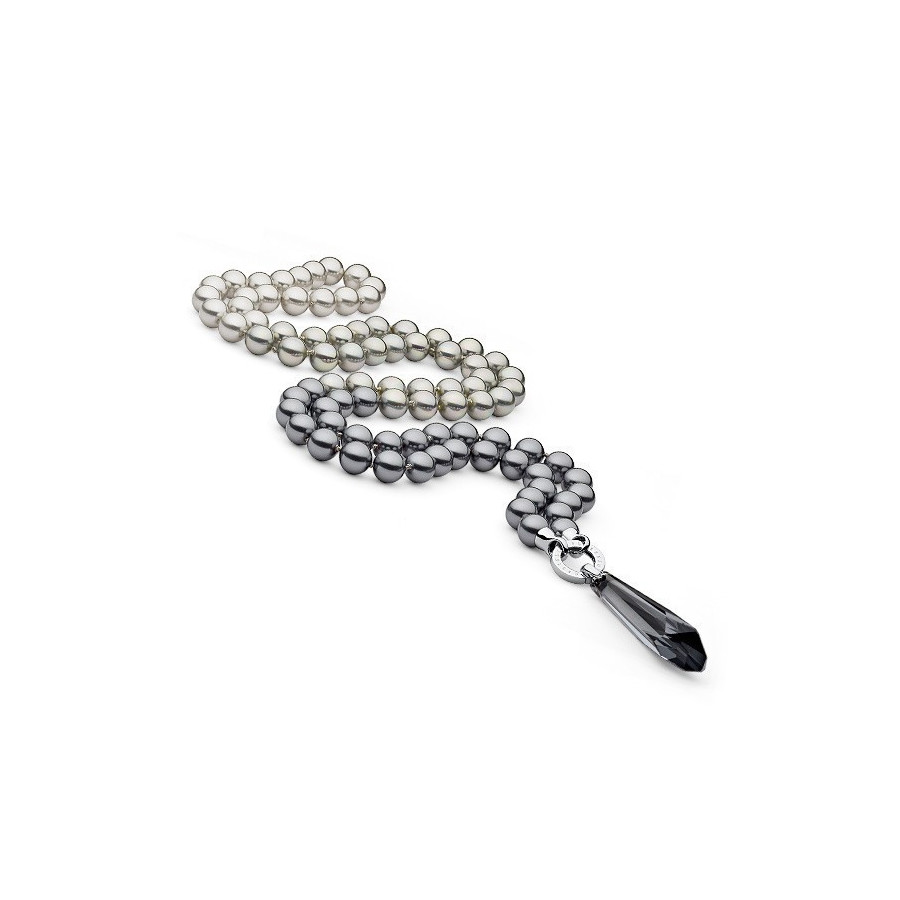 Naszyjnik grafitowy srebrny perła 10 mm kryształ Swarovski