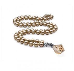 Naszyjnik złoty perła 10 mm kryształ Swarovski