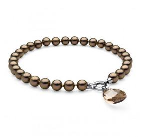 Naszyjnik złoty-antyczny perła 12 mm kryształ Swarovski