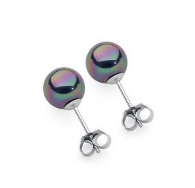 Kolczyki kolor fioletowy-benzynowy perła 8 mm