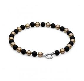 Naszyjnik czarny złoty perła 12 mm