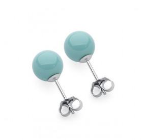 Kolczyki kolor turkusowy perła 8 mm