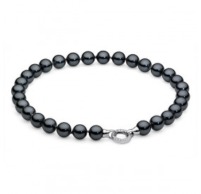 Naszyjnik grafitowy-ciemny cyrkonie perła 12 mm