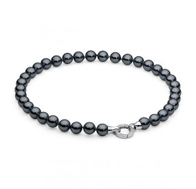 Naszyjnik grafitowy-ciemny cyrkonie perła 10 mm