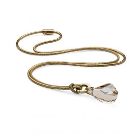 Naszyjnik złoty skóra kryształ Swarovski