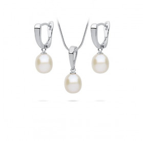 Komplet biały perła 8 mm
