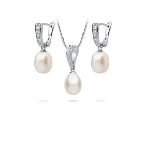 Komplet biały cyrkonie perła 8 mm