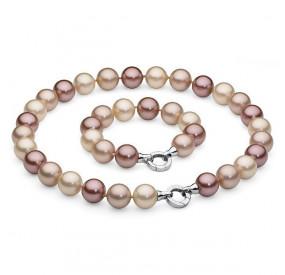 Komplet różowy-pudrowy perła 16 mm