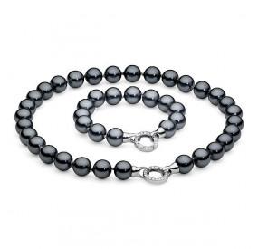 Komplet grafitowy-ciemny cyrkonie perła 12 mm