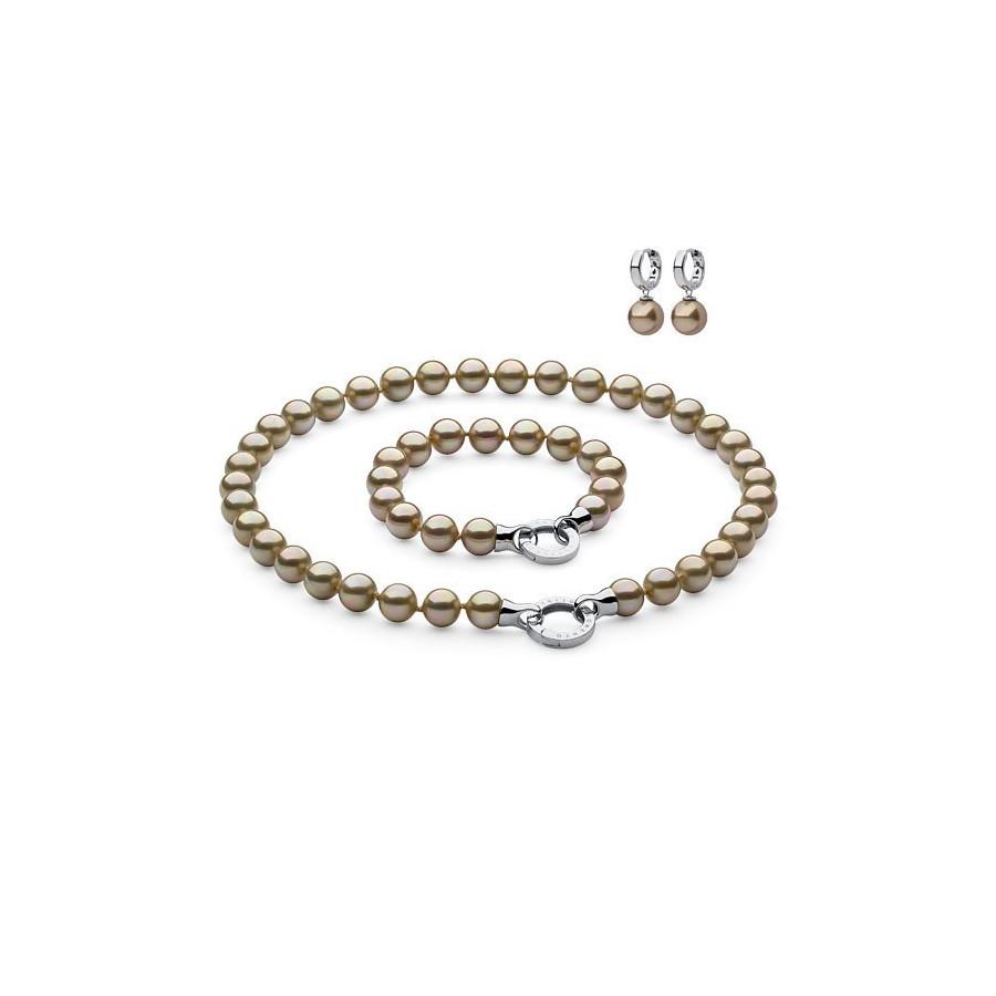 Komplet złoty perła 10 mm