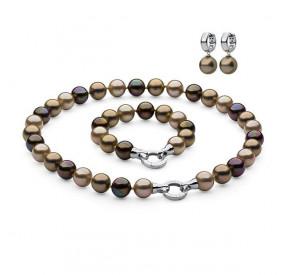 Komplet brązowy złoty perła 10 mm