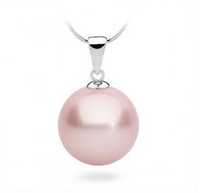 Wisiorek różowy-pudrowy perła 14 mm