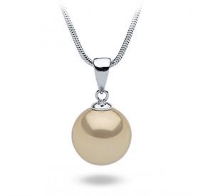 Wisiorek złoty perła 14 mm