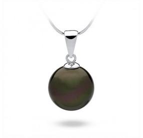 Wisiorek zielony-ciemny perła 14 mm
