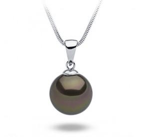 Wisiorek brązowy-ciemny perła 14 mm