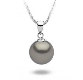 Wisiorek beżowy-cappucino perła 14 mm