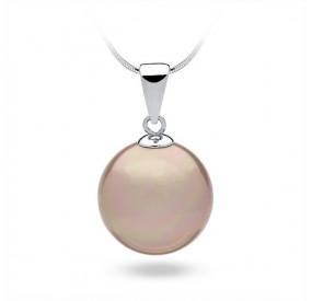 Wisiorek różowy-pudrowy perła 16 mm