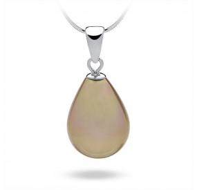 Wisiorek złoty perła 13 x 18 mm