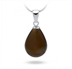 Wisiorek brązowy-ciemny perła 13 x 18 mm