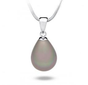 Wisiorek beżowy-cappucino perła 13 x 18 mm