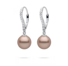 Kolczyki kolor różowy-pudrowy cyrkonie perła 10 mm
