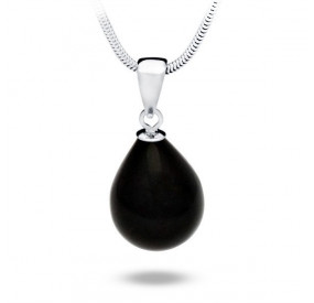 Wisiorek czarny perła 13 x 18 mm