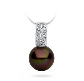 Wisiorek brązowy-ciemny cyrkonie perła 12 mm
