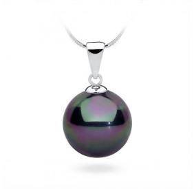 Wisiorek fioletowy-benzynowy perła 14 mm